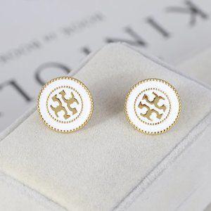 Tory Burch White Double Circle Logo T Earrings